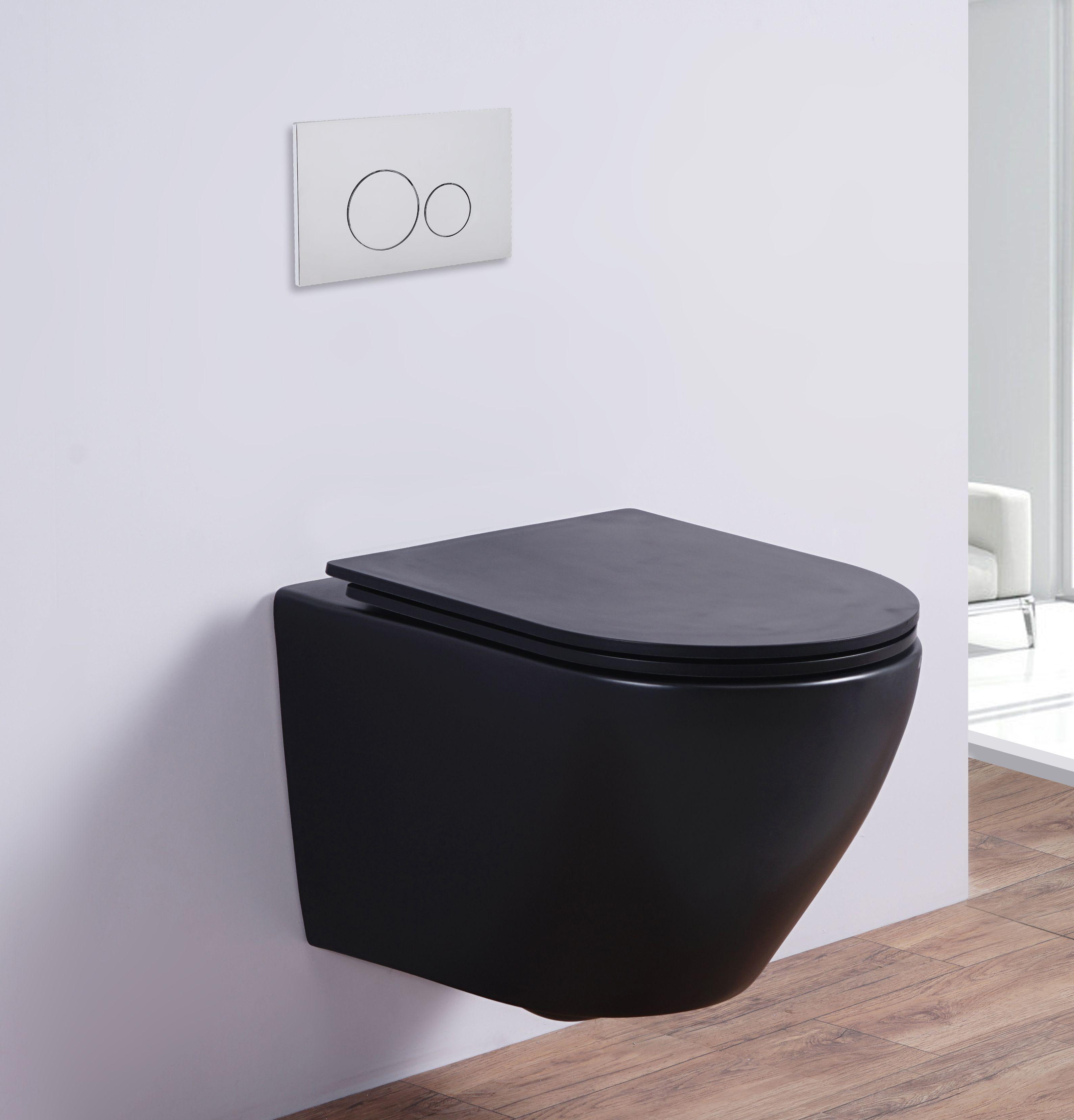 Spülrandloses Wand-WC inkl. Soft-Close Sitz WHR-586075 (matt-schwarz)