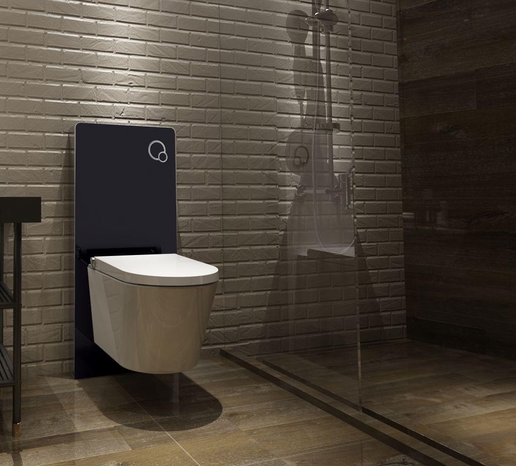 Schwarzglas Sanitärmodul für Wand-WC inkl. Betätigungsplatte