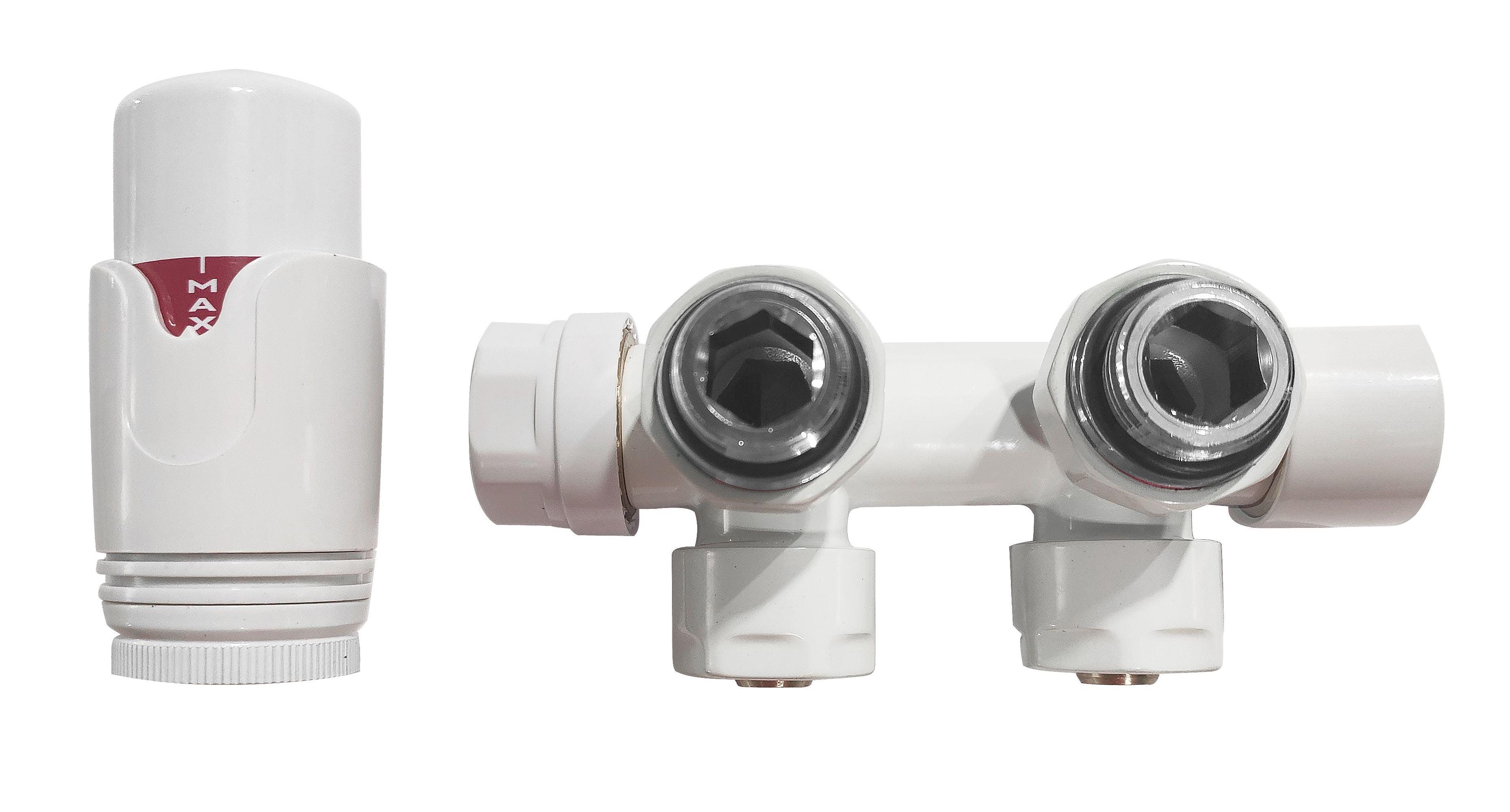 Eck - Anschlussgarnitur inkl. Thermostat in weiß (Mittelanschluss)