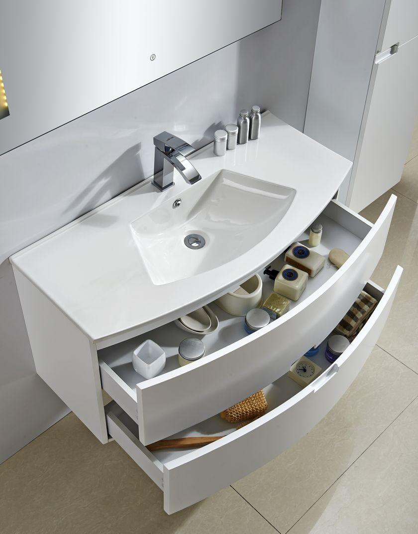 Badmöbel Unterschrank BURBUJA (weiß) inkl. Waschtisch