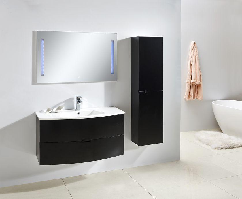 Spiegel OPORTO 60 in schwarz Möbel Garnitur Badmöbel Spiegel
