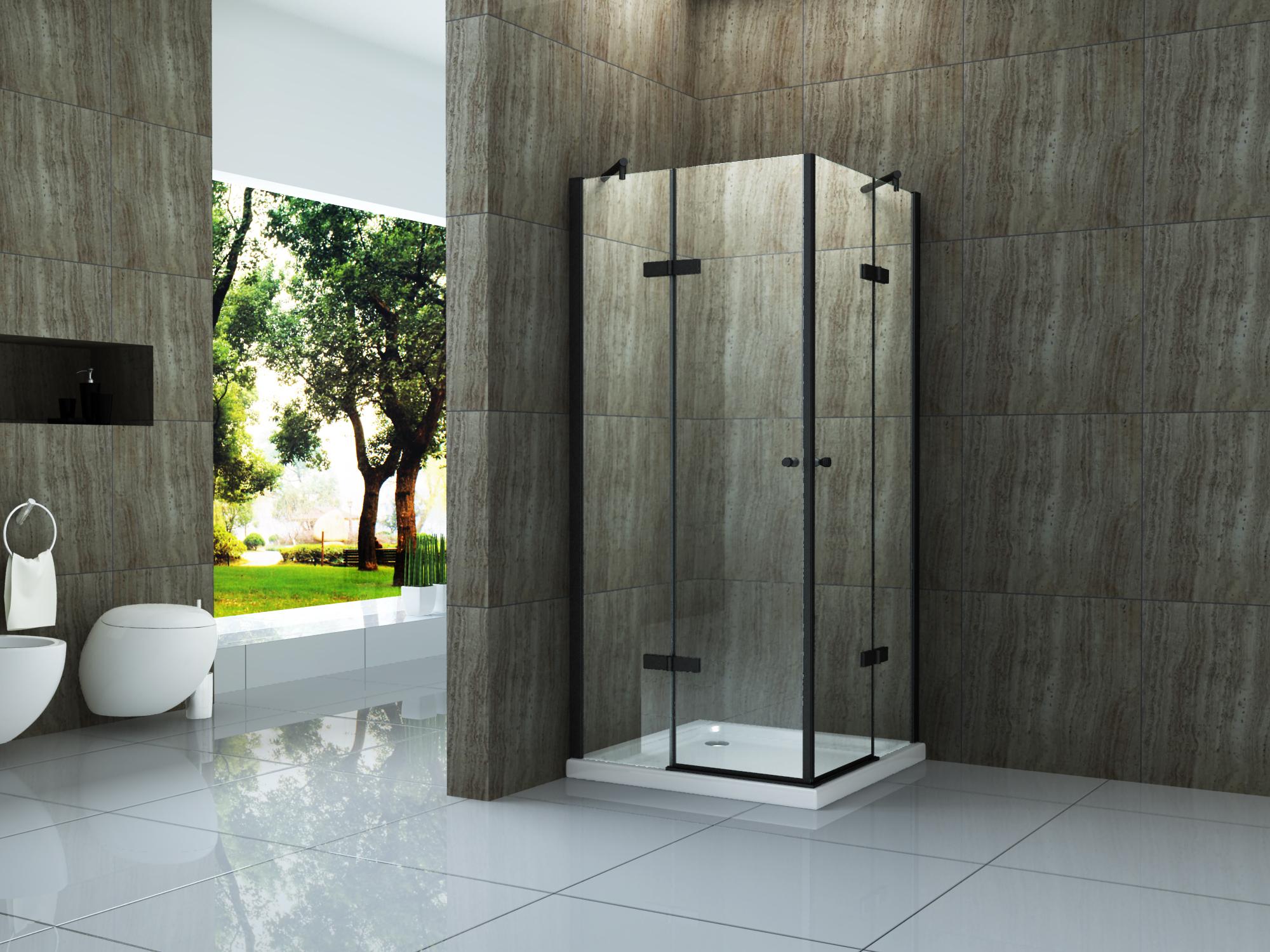 Duschkabine CANTO (schwarz) 90 x 90 x 195 cm ohne Duschtasse