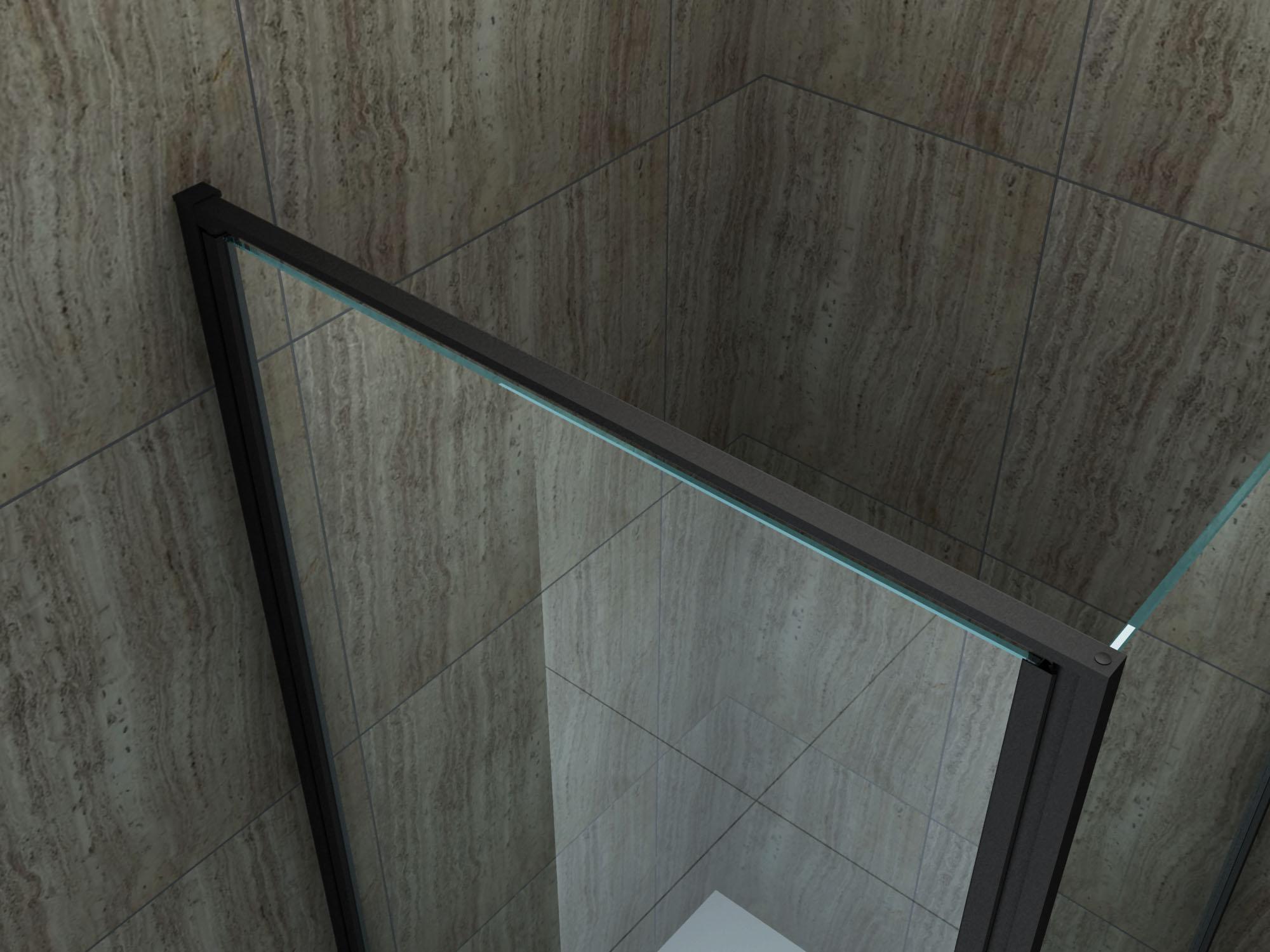 Duschkabine CAPANNO (schwarz) 90 x 90 x 195 cm ohne Duschtasse