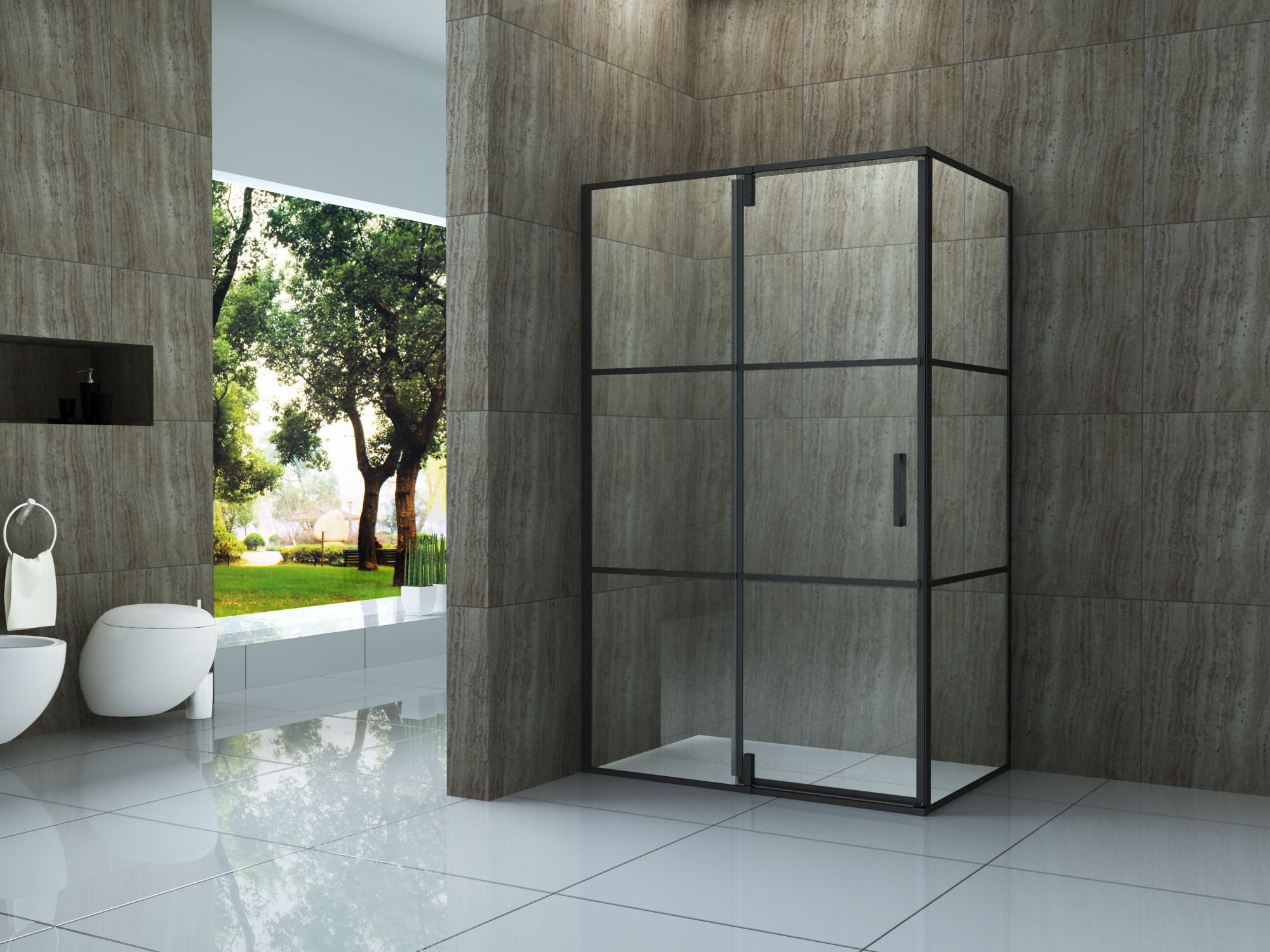 Duschkabine Creato 120 x 80 x 195 cm ohne Duschtasse