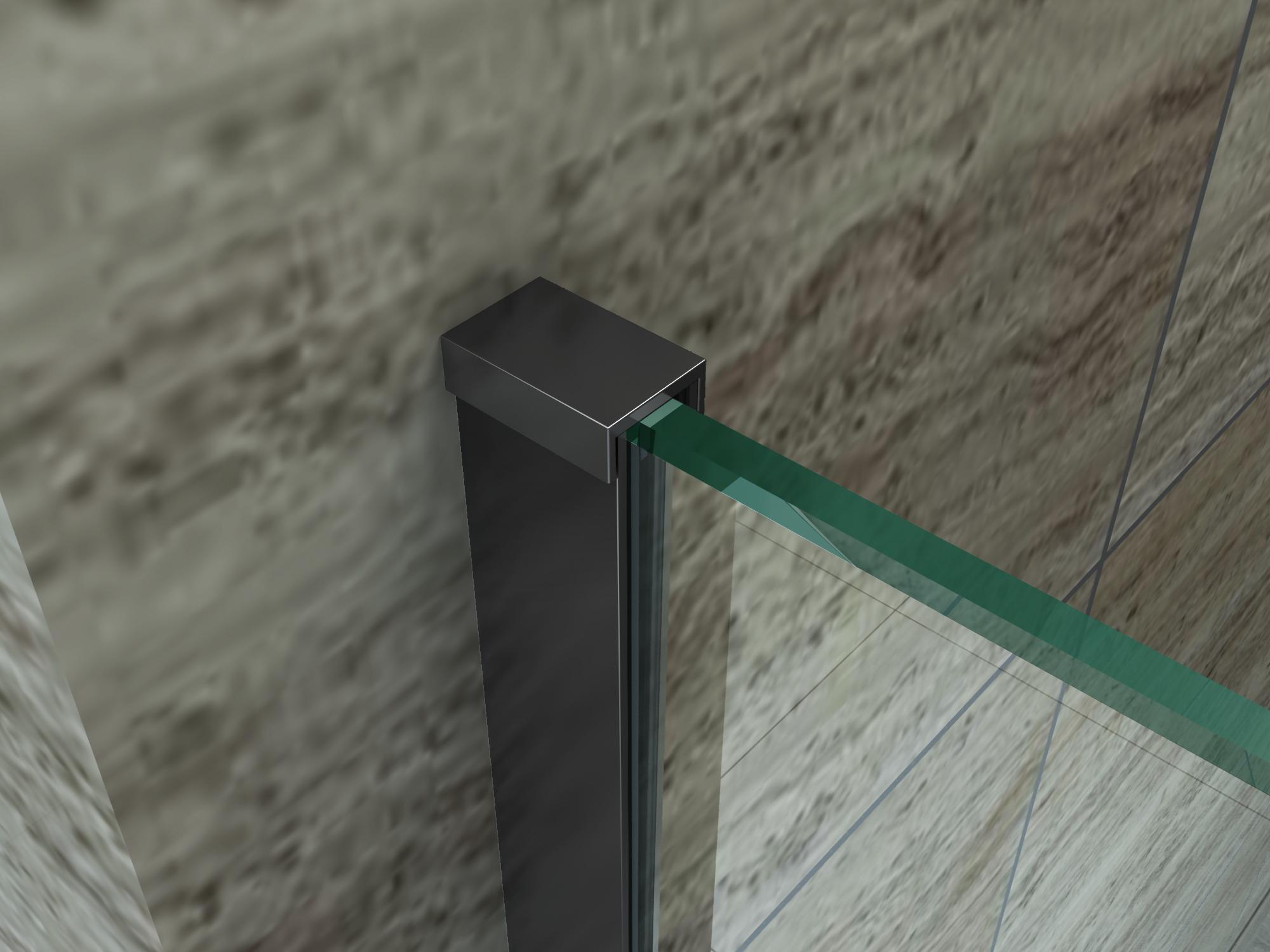 Duschwand DIDIVO mit schwarzen Anbauteilen in 60 x 200 cm