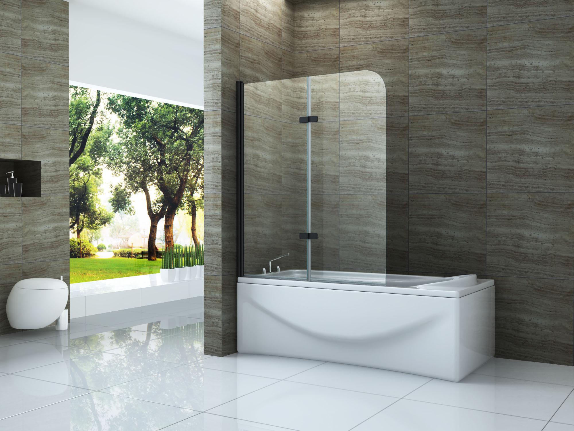 Duschtrennwand DUO - schwarz 120 x 140 (Badewanne)