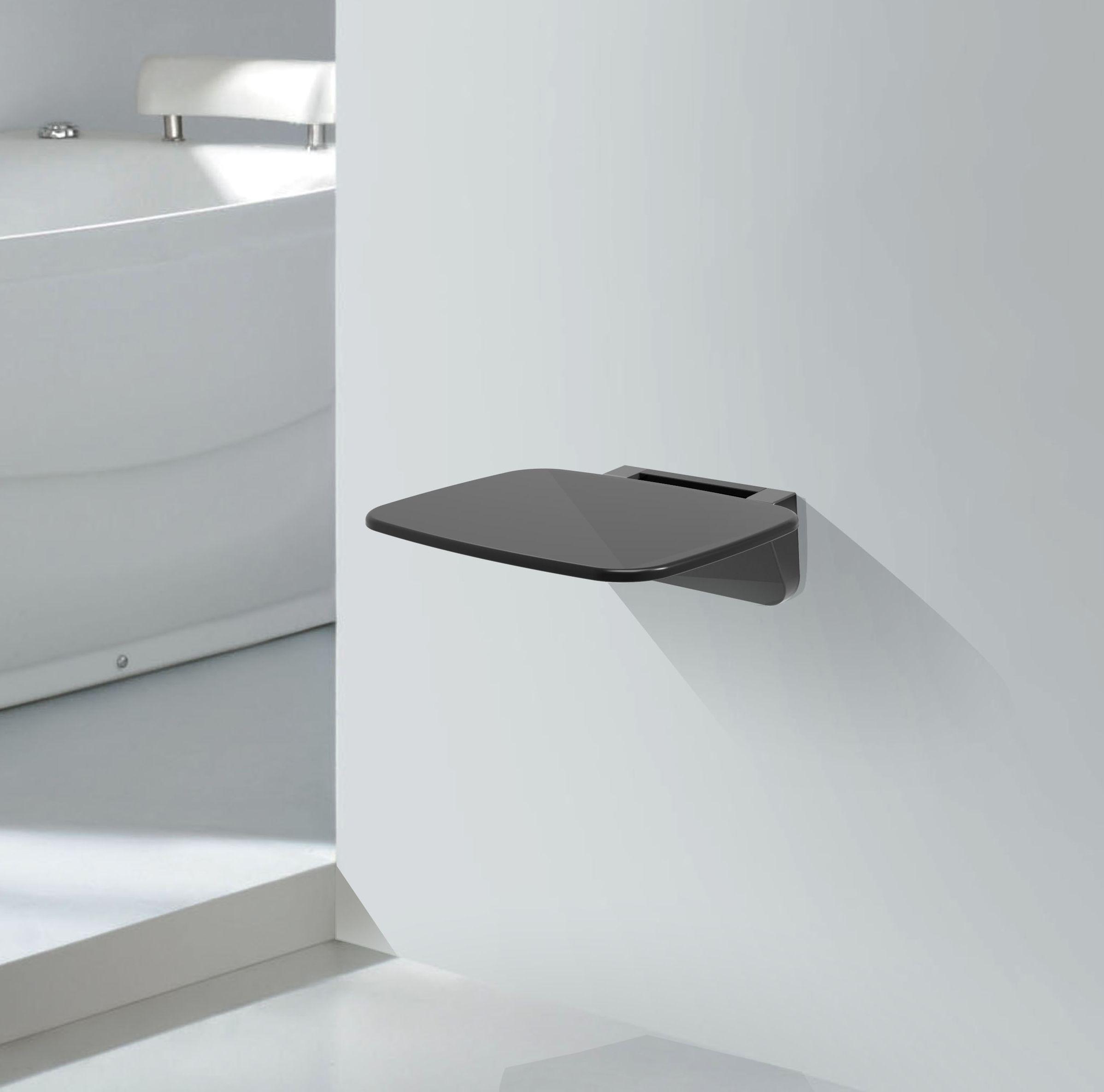 klappbarer Duschsitz in schwarz zur Wandmontage