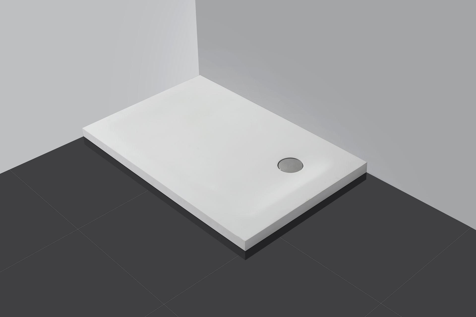 50 mm flache Mineralguss Duschtasse 90 x 75 cm Duschwanne Dusche Naturstein
