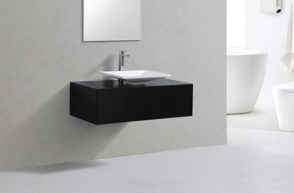 Badmöbel Unterschrank LUMINO 100 in schwarz inkl. Waschtisch