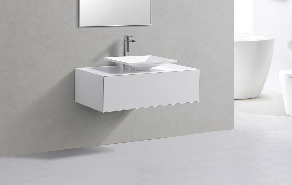 Badmöbel Unterschrank LUMINO 100 in weiß inkl. Waschtisch