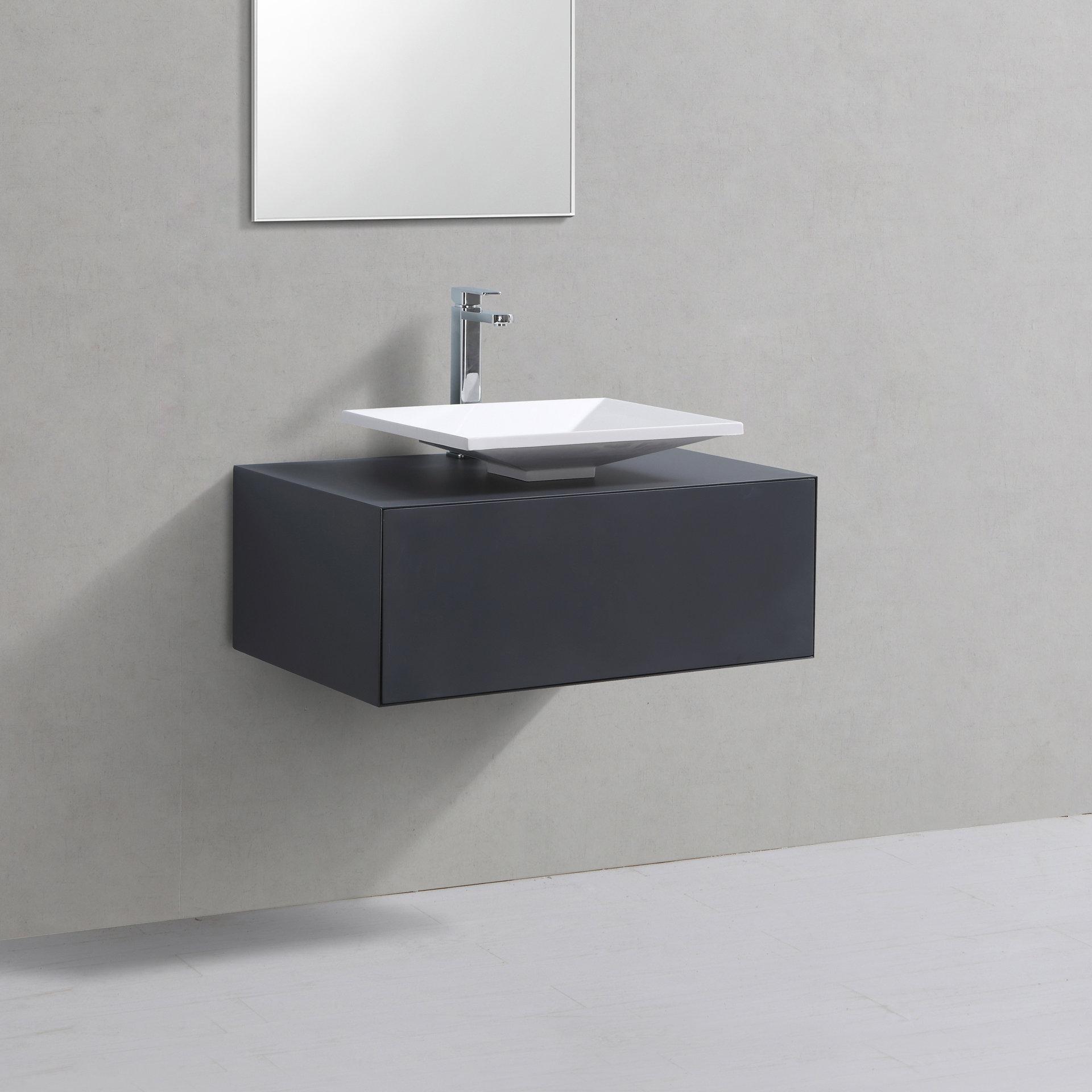Badmöbel Unterschrank LUMINO 80 in grau inkl. Waschtisch