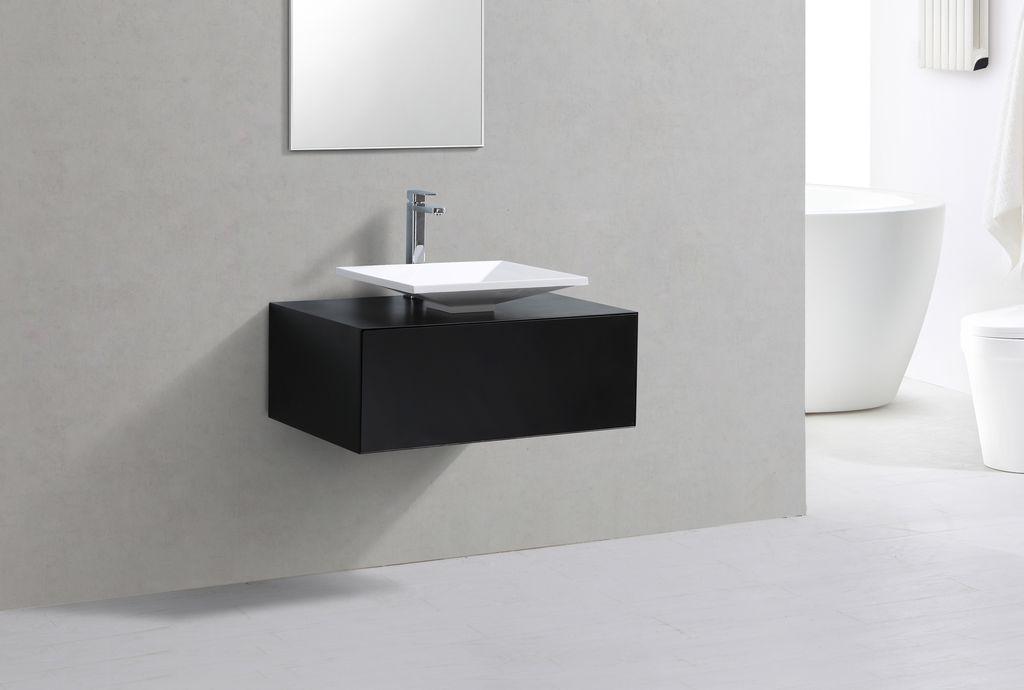 Badmöbel Unterschrank LUMINO 80 in schwarz inkl. Waschtisch