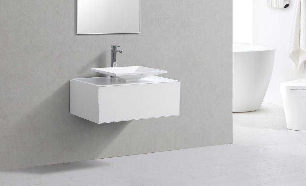 Badmöbel Unterschrank LUMINO 80 in weiß inkl. Waschtisch