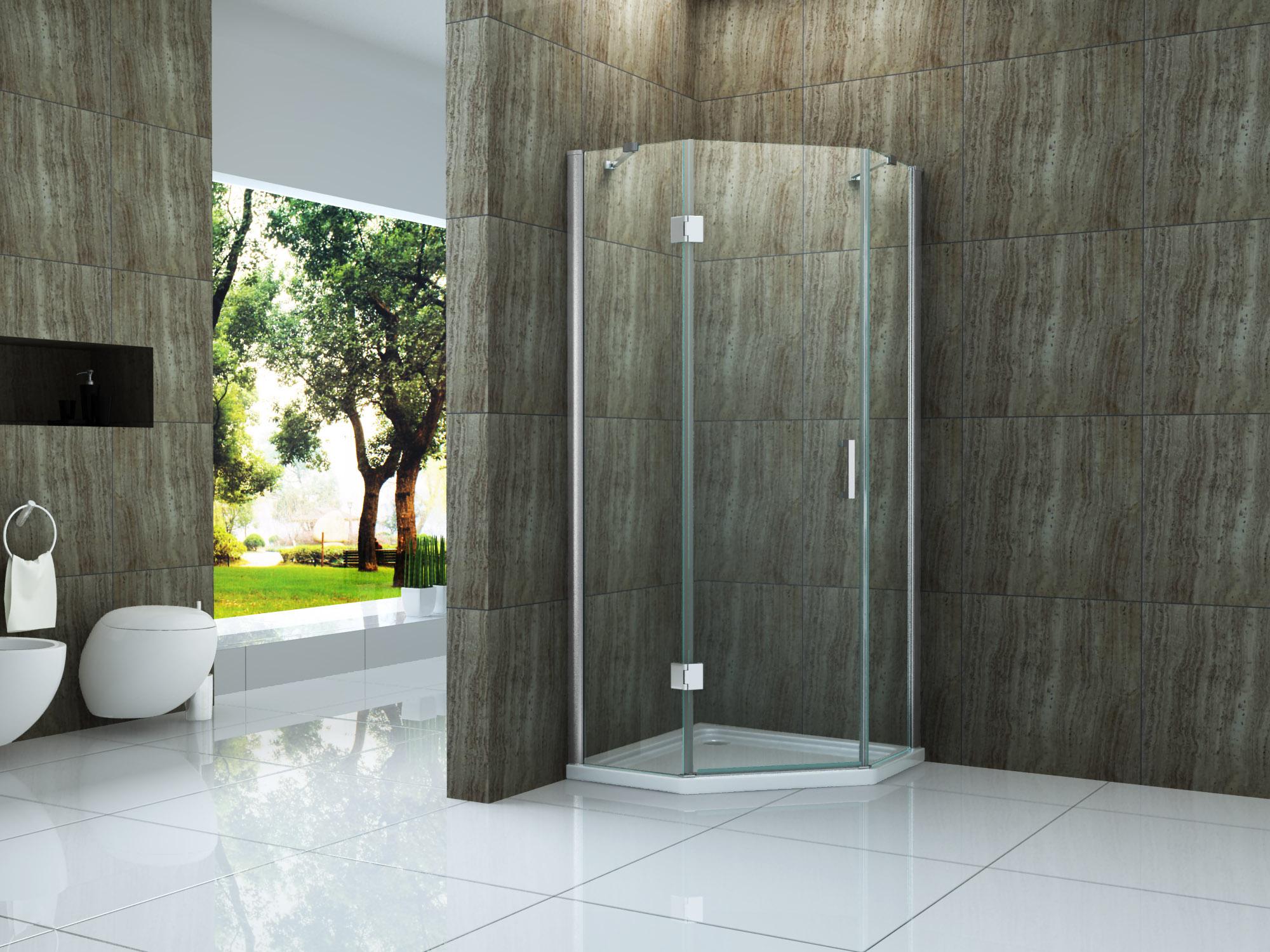 Fünfeck-Duschkabine NOOK 90 x 90 x 200 cm inkl. Duschtasse