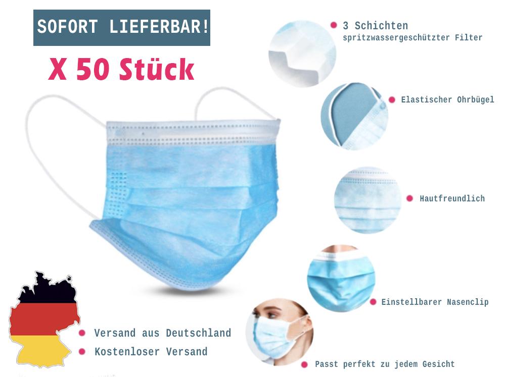 50 x Einweg Schutzmaske 3-lagige Mundbedeckung (CE zertifiziert)
