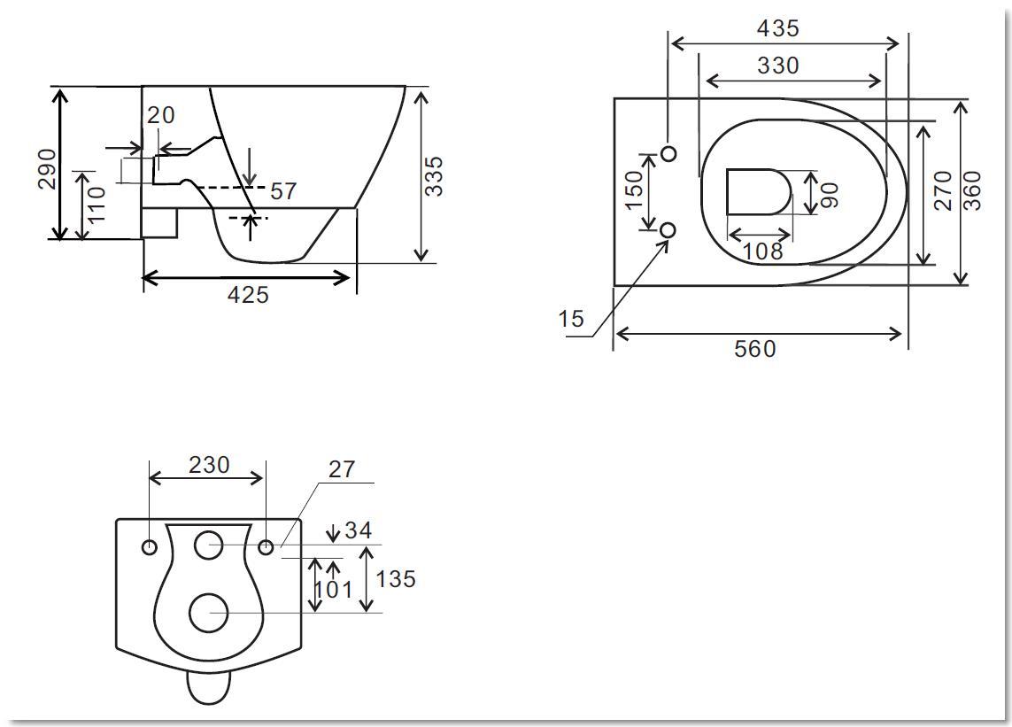 Wand-WC inkl. Soft-Close Sitz WH-586152