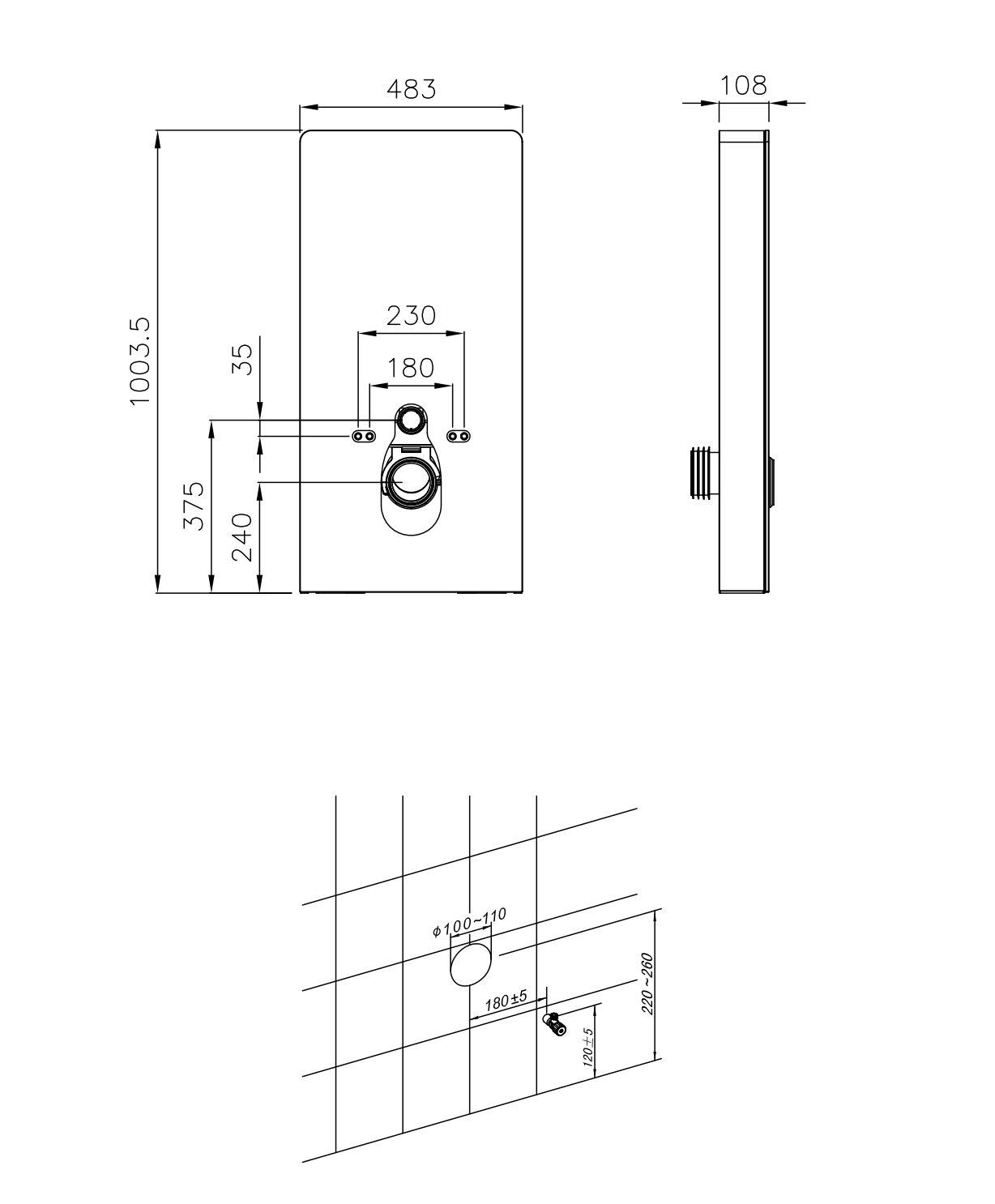 Schwarzglas Sensor - Sanitärmodul für Wand-WC