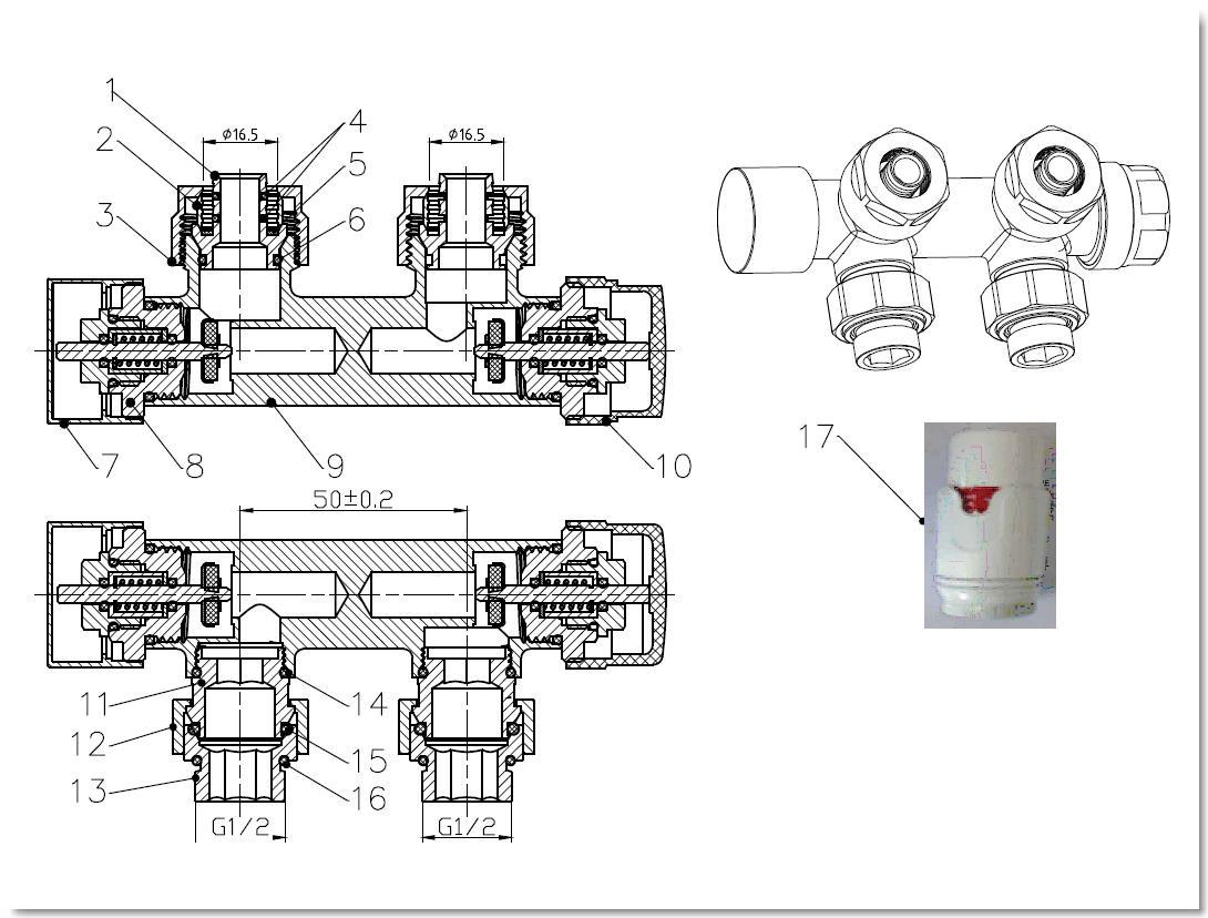 Eck - Anschlussgarnitur inkl. Thermostat in grau (Mittelanschluss)
