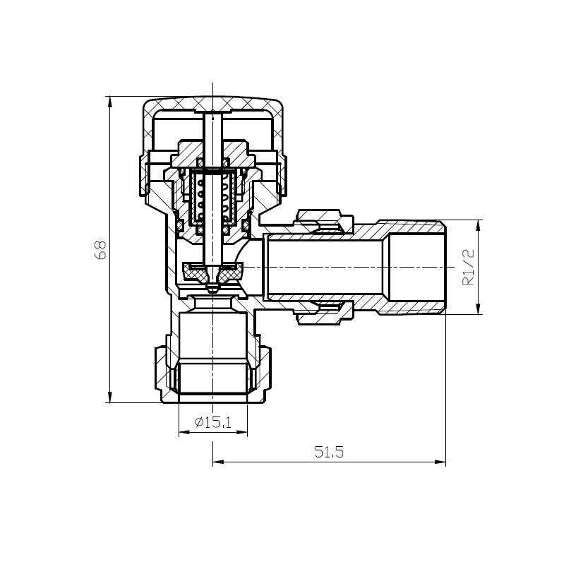 Anschlussgarnitur inkl. Thermostat in grau (Seitenanschluss)