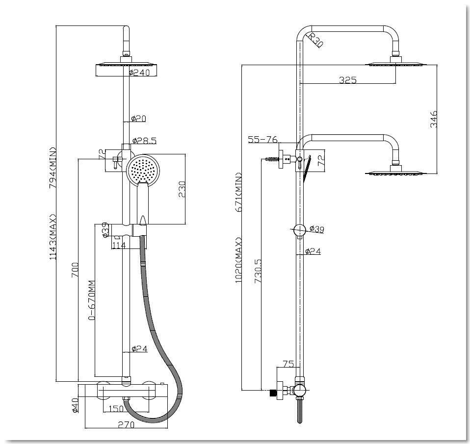 schwarzes Thermostat Duschstangen-Set THERMO - R24