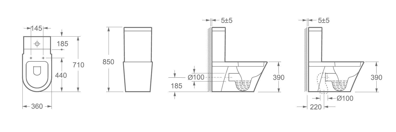 Stand-WC inkl. Spülkasten und Soft-Close Sitz BTWS-6012
