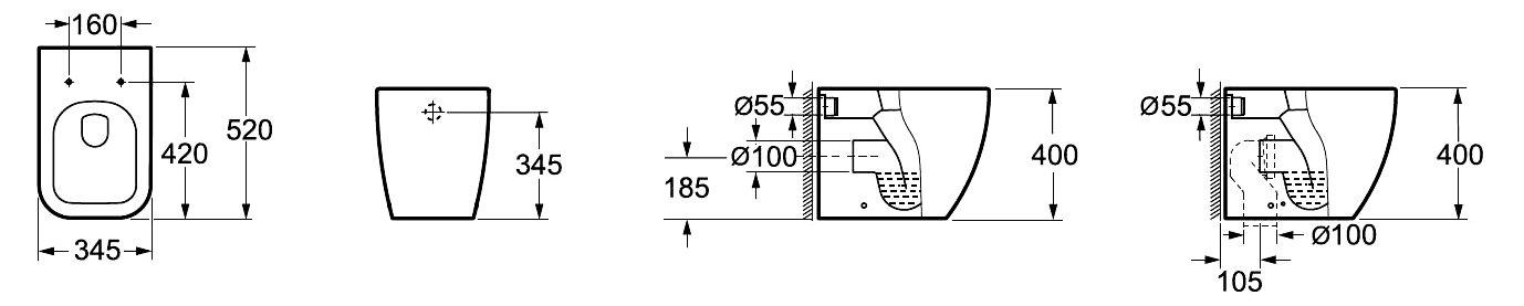 Soft-Close Sitz 52x40x34,5cm Bodenstehendes Tiefspül WC Stand-WC 6023 inkl