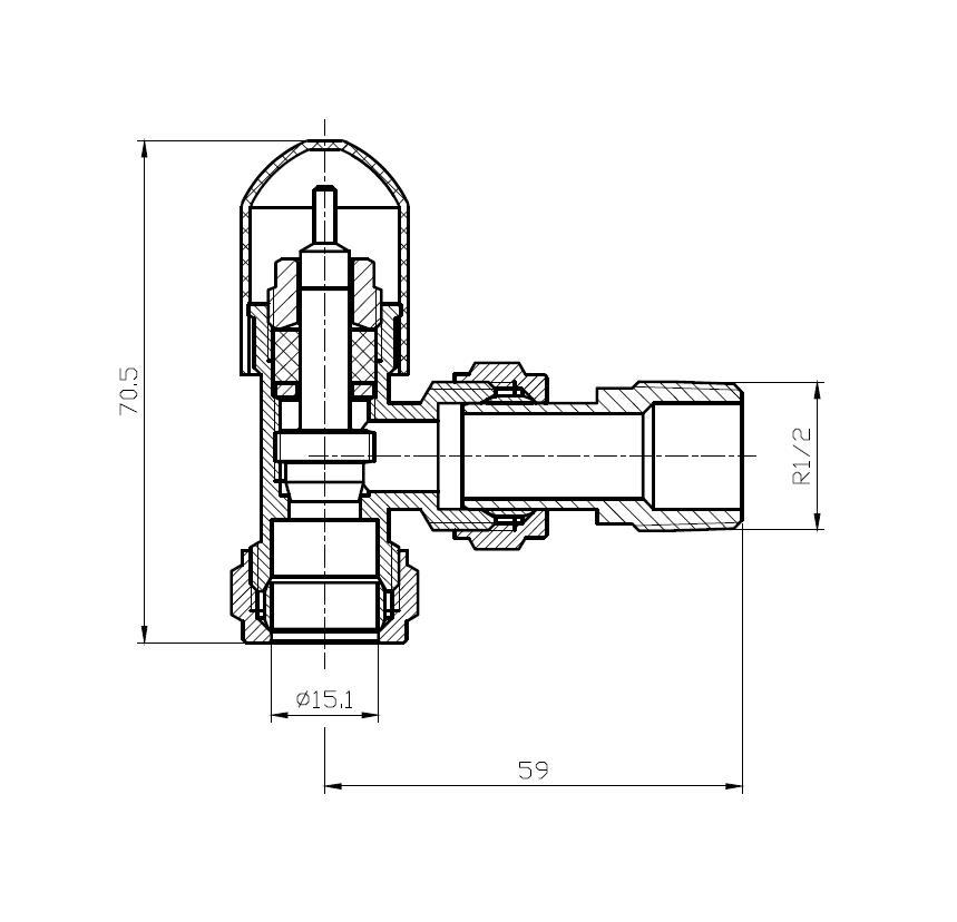 Anschlussgarnitur inkl. Thermostat in weiß (Seitenanschluss)