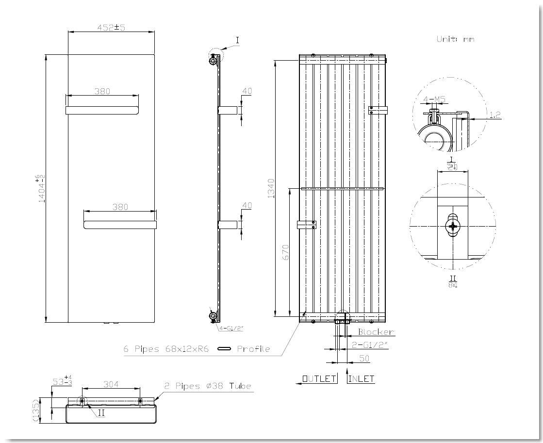 Badheizkörper ALWAR in 140 x 45 cm (Mittelanschluss, weiß)