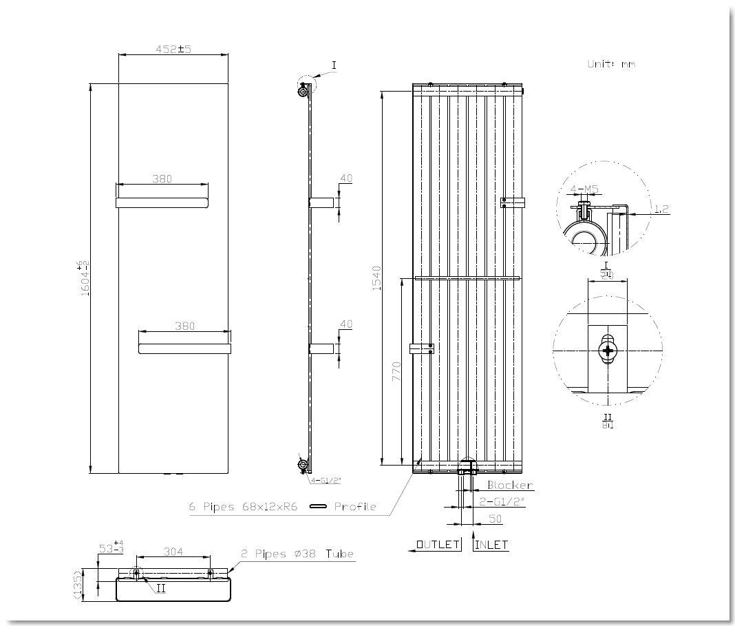 Badheizkörper ALWAR in 160 x 45 cm (Mittelanschluss, grau)