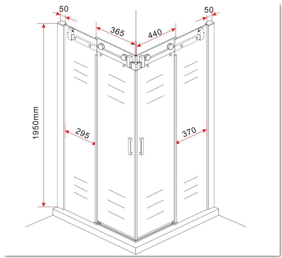 Duschkabine AREA 90 x 75 x 195 cm ohne Duschtasse