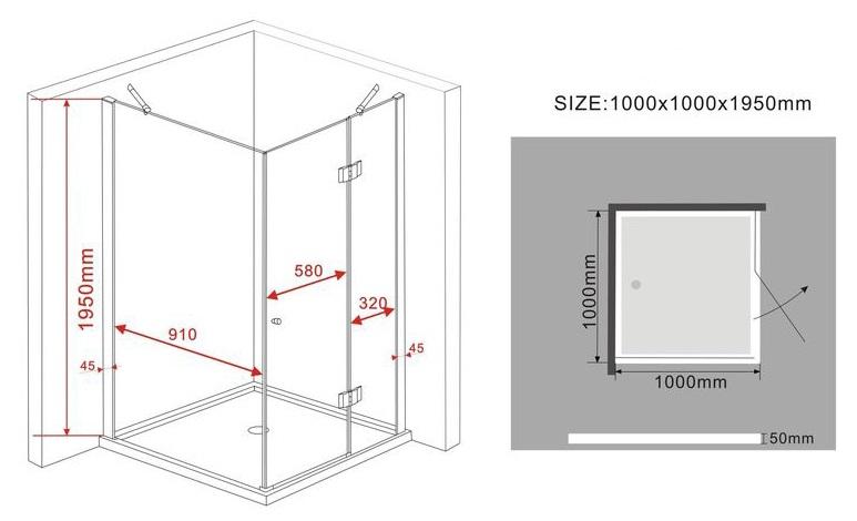 Duschkabine ARTO (schwarz) 100 x 100 x 195 cm ohne Duschtasse