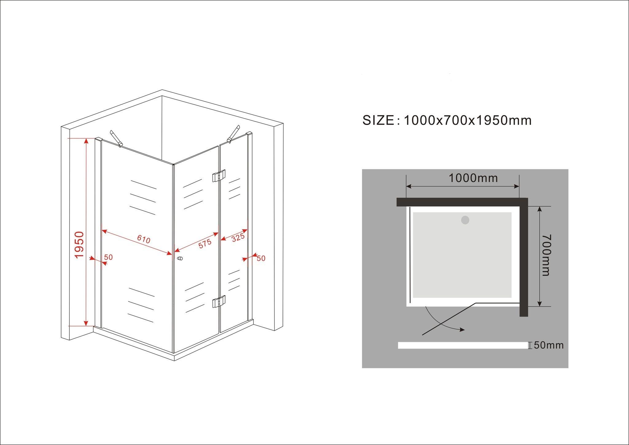 Duschkabine ARTO 100 x 70 x 195 cm