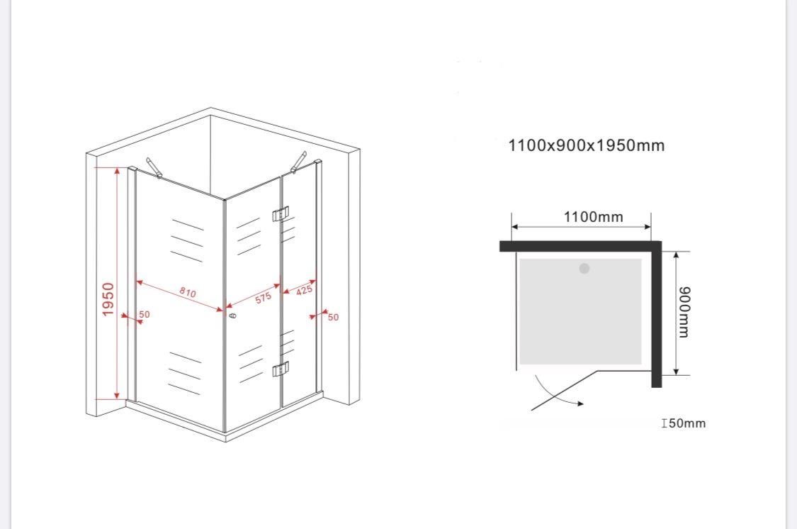 Duschkabine ARTO 110 x 90 x 195 cm ohne Duschtasse