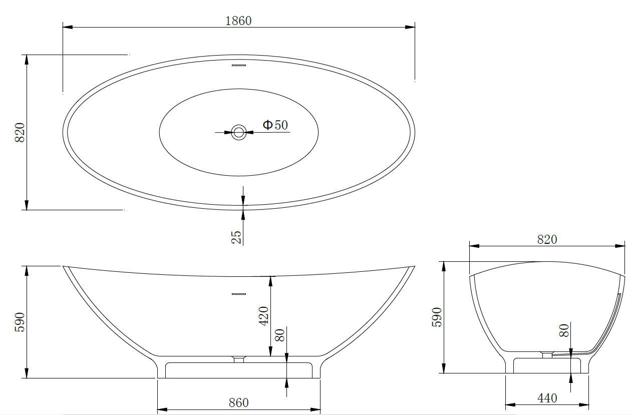 Mineralguss - Badewanne MG-B043 (freistehend)