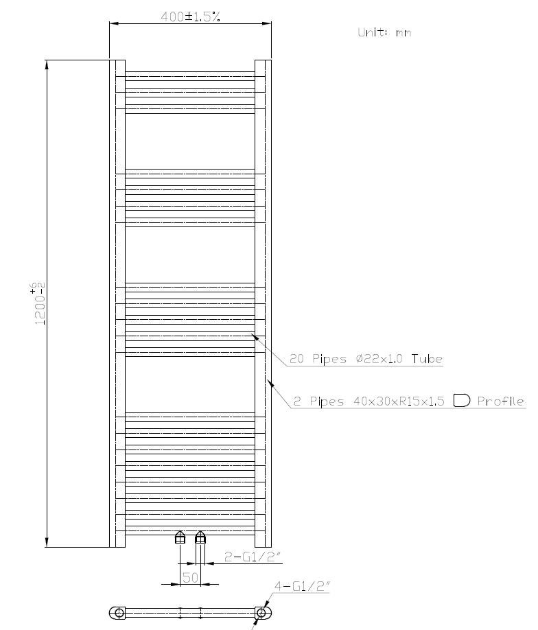 Badheizkörper BH-MAW in 120 x 40 cm (Mittelanschluss, weiß)