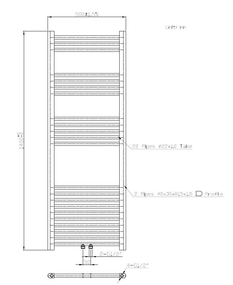 Badheizkörper BH-MAW in 140 x 50 cm (Mittelanschluss, weiß)