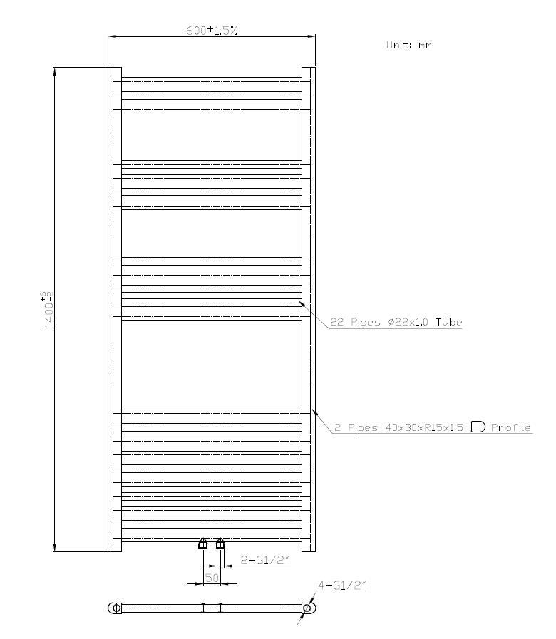 Badheizkörper BH-MAW in 140 x 60 cm (Mittelanschluss, weiß)