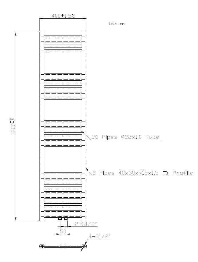 Badheizkörper BH-MAW in 160 x 40 cm (Mittelanschluss, weiß ...