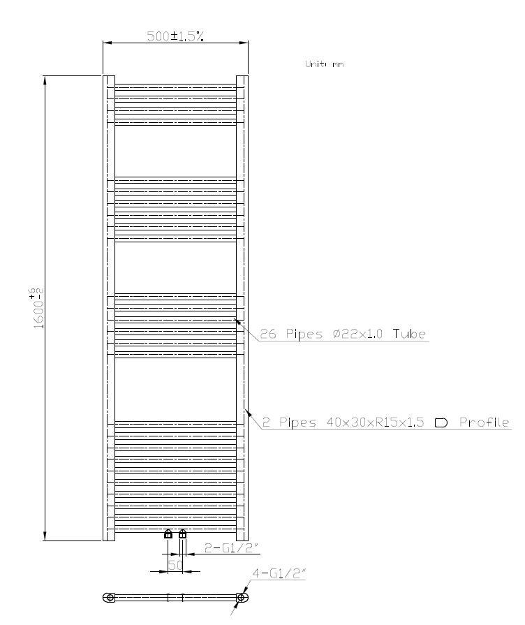 Badheizkörper BH-MAW in 160 x 50 cm (Mittelanschluss, weiß)