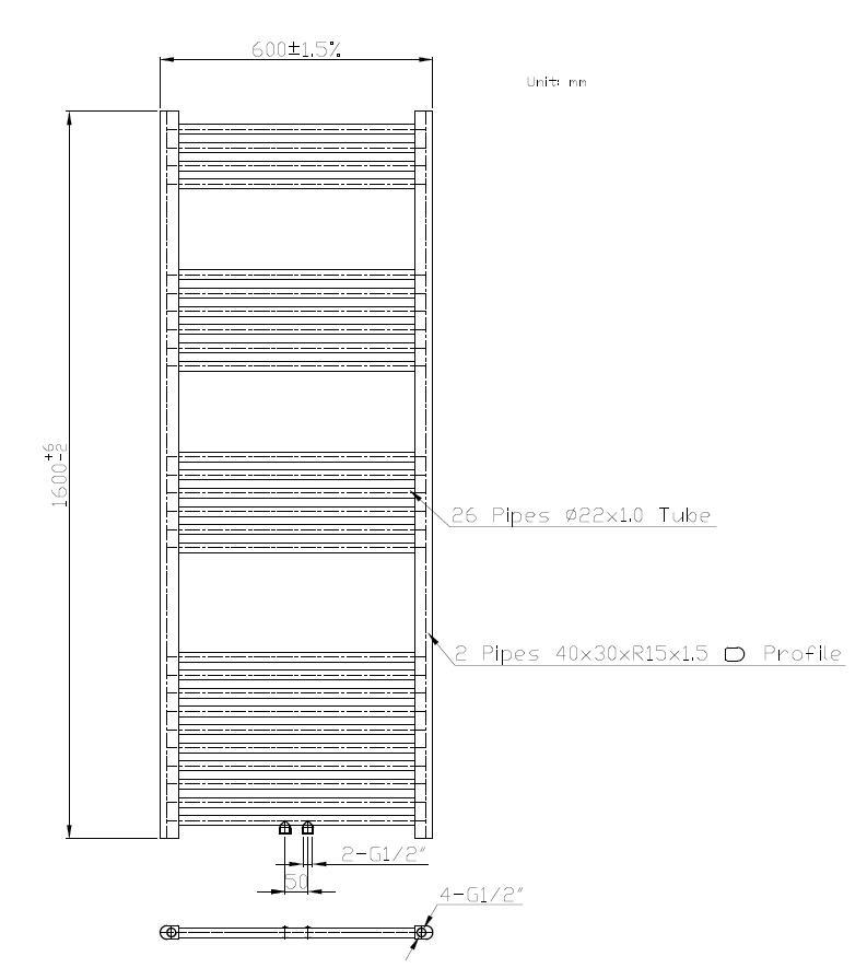 Badheizkörper BH-MAW in 160 x 60 cm (Mittelanschluss, weiß)