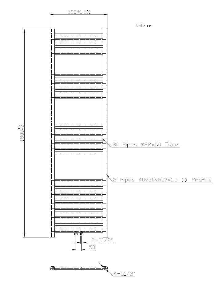 Badheizkörper BH-MAW in 180 x 50 cm (Mittelanschluss, weiß)