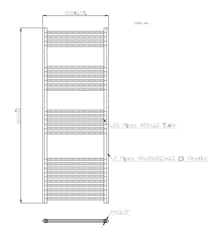 Badheizkörper BH-SAW in 160 x 60 cm (Seitenanschluss, weiß)