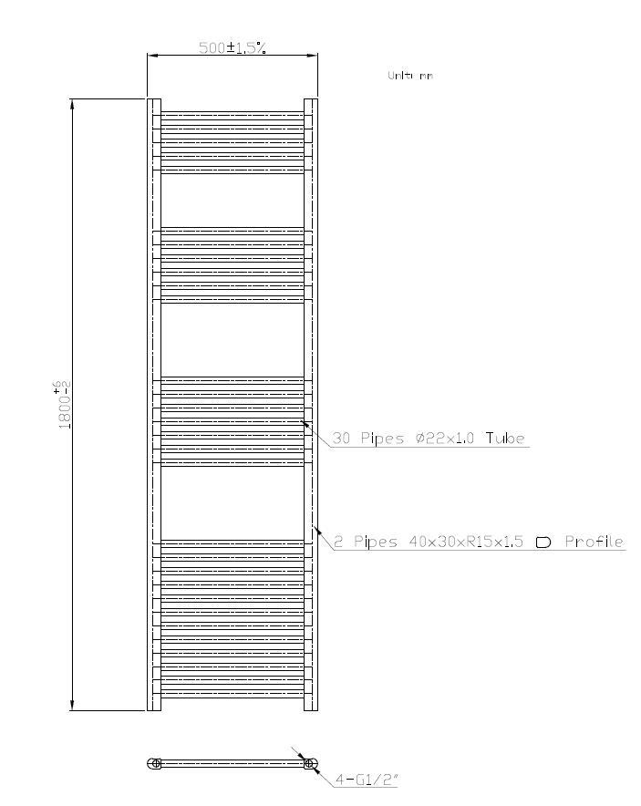 Badheizkörper BH-SAW in 180 x 50 cm (Seitenanschluss, weiß)