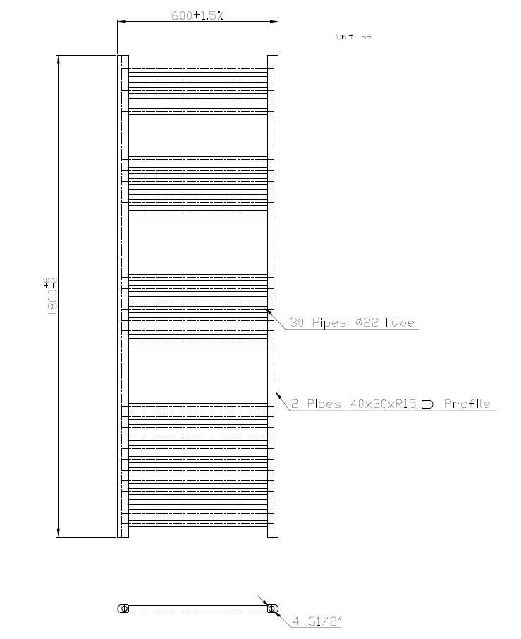 Badheizkörper BH-SAW in 180 x 60 cm (Seitenanschluss, weiß)