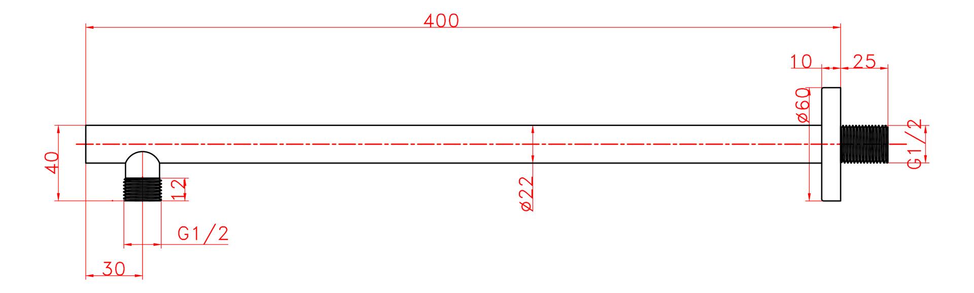 schwarzer 40 cm Designer Brausearm für Regenbrausen (rund)