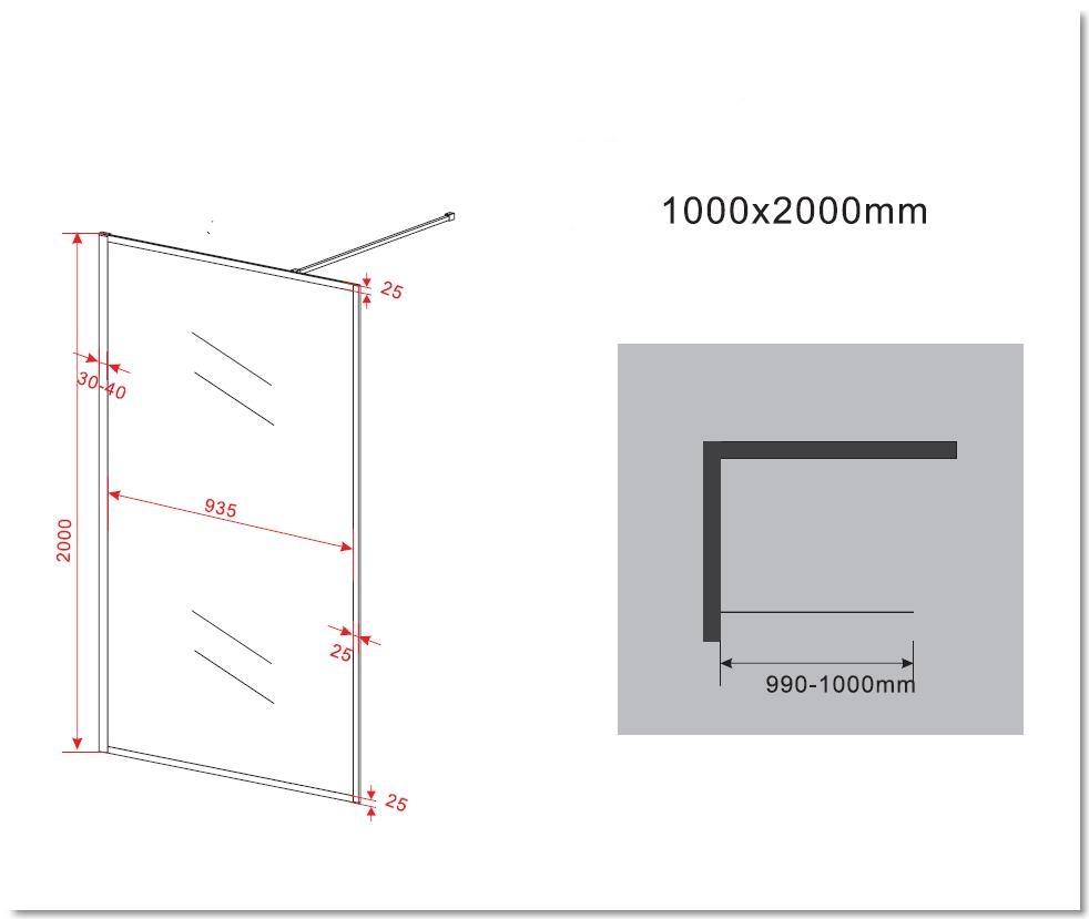 8 mm Duschwand CALMO 100 x 200 cm