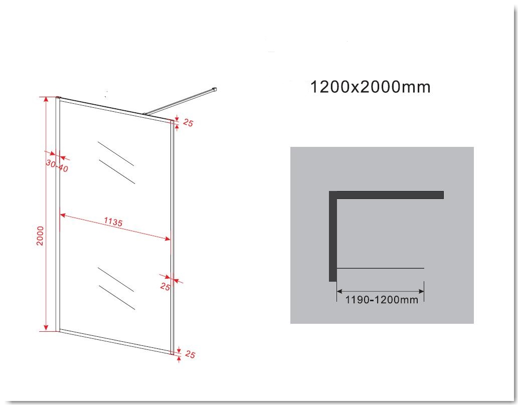8 mm Duschwand CALMO 120 x 200 cm