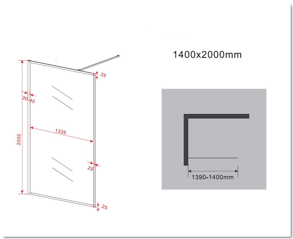 8 mm Duschwand CALMO 140 x 200 cm