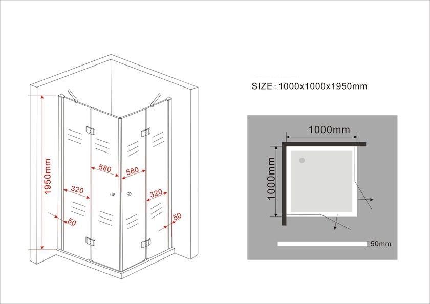 Duschkabine CANTO (schwarz) 100 x 100 x 195 cm ohne Duschtasse
