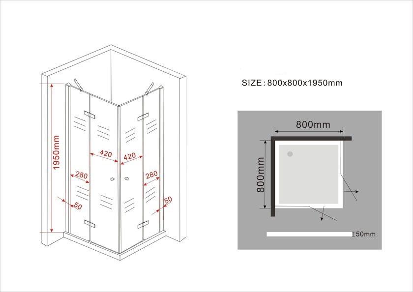Duschkabine CANTO (schwarz) 80 x 80 x 195 cm ohne Duschtasse
